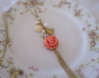 Roses,Beads and Locket Necklace