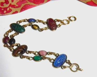Vintage Gemstone Egyptian Revival Scarab Bracelet - Carved Scarab Gemstone Bracelet 12K Rose Gold Filled