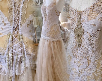Bridal gown tea stained,Wedding dress delicate,bohemian wedding dress,boho wedding dress,bridal gown lace,recycle ,rustic wedding dress,boho
