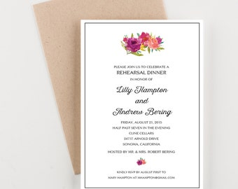 Rehearsal Dinner Invitation, Wine Pairing or Party Invitation
