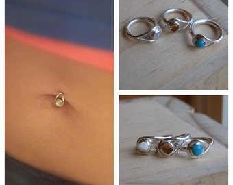 Pebble Belly Button Ring 999 fine silver 14k solid