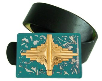Art Deco Belt Buckle Inlaid in Teal Green Hand Painted Enamel Inspired Snap Belts  with Custom Colors Available