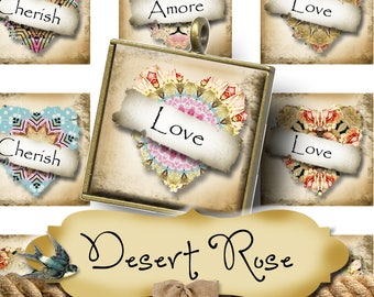 DESERT ROSE•1x1 Square Heart Quotes Images•Printable Digital Images•Cards•Gift Tags•Stickers•Magnets•Digital Collage Sheet