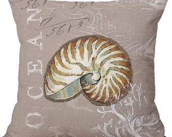 "18"" Pillow Cover Conch Shell Beach Throw Pillow"
