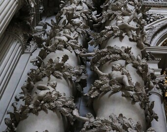 German Cathedral Pillar with Cherubs Print or Canvas