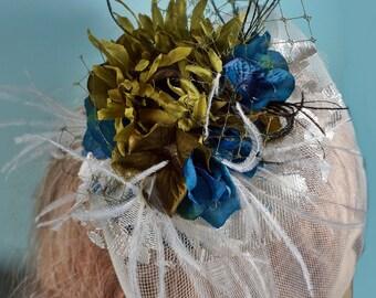 Blue amd Green Flower Crinoline Veiled Fascinator
