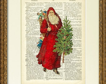 SANTA IN RED Dictionary Page Print - a fun old Santa illustration on an antique dictionary page- charming vintage Christmas wall decor