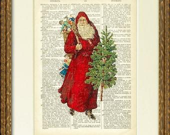 SANTA IN rouge dictionnaire Page Print - un plaisir vieille illustration Santa sur une page de dictionnaire antique-charmant décor de mur Noël vintage