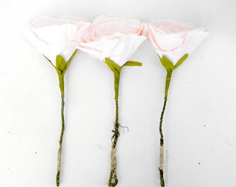 COTTON Wedding Anniversary Flowers set of 3 in Vintage pink flower gifts by Cotton Bird Designs