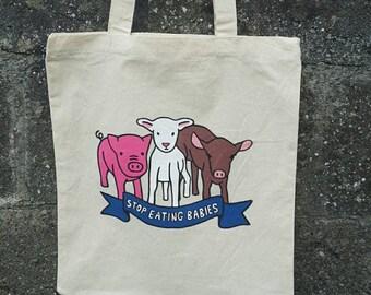 Vegan Bag, Animal Rights, Cruelty Free, Vegan Gift, Vegetarian, Farmers Market Bags, Vegan Activism, Vegan Bags, Vegan Tote, Vegan, Vegans