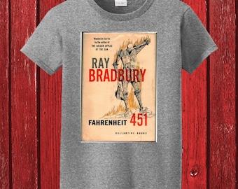 Fahrenheit 451 by Ray Bradbury Classic Book Cover Graphic on 100% Preshrunk Cotton Tee Shirt