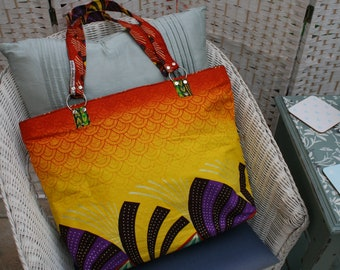 Tote Bag (Large) - Zipped Top - Traditional African Kitenge Fabric - Yellow Orange Purple