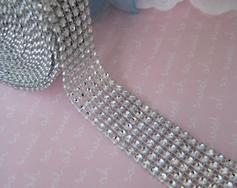 4.9 yards Silver Diamond Mesh Wrap Ribbon for Wedding, Centerpieces, Cake Stands, Embellishment, Sweet 16, Quinceanera, 1 inch Ribbon Wide