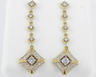 14K Yellow Gold Diamond Earrings Dangle Drop Earrings Gold Wedding Gift Unique