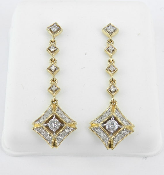 14K Yellow Gold Diamond Earrings Dangle Drop Earrings Gold Wedding Gift Unique