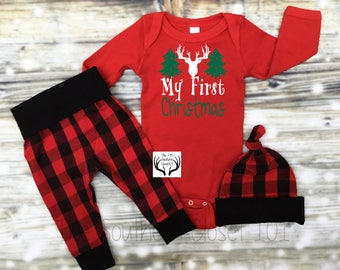Baby Boys Christmas Outfit,My First Christmas,Newborn Boy Coming Home Outfit, Buffalo Plaid, Red, Black,Baby Boy,Boy Coming Home Outfit,Boys
