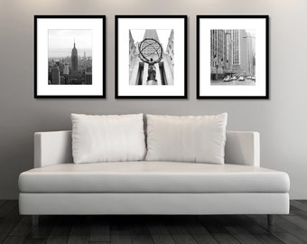 Superb New York Wall Art, Set Of 3 Prints, Black And White Photography, Vertical  Prints, NYC, Empire State Building, 30 Rock, Radio City, SALE