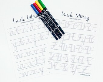 Brush Lettering Practice Worksheets | Uppercase and Lowercase Letters | Brush Lettering Practice with Sample Letters A through Z