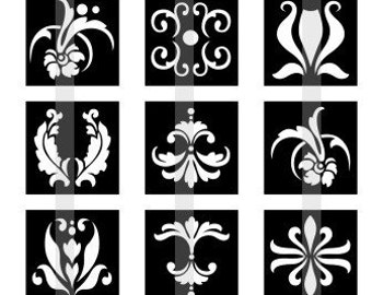 """Beautifuk Damask Patterns - one 4x6 inch digital sheet of 1"""" square images for magnets, glass tiles, pendants etc."""