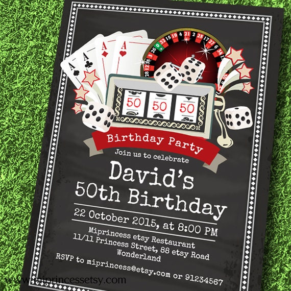 50th birthday casino invitations