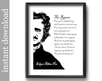 The Raven Printable, Halloween Printable, Edgar Allan Poe, Raven quote, library wall art, literature, poetry, black and white, goth, macabre