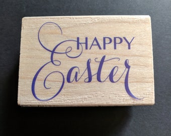 Happy Easter Wood Mounted Rubber Stamp