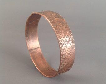 Handmade copper textured stamped bracelet bangle