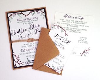 Woodsy Rustic Outdoor Wedding Invitations