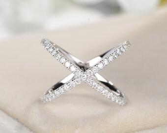 X Ring Diamond CrissCross Connected Women Modern 14K White Gold Statement Micro Pave Wedding Band Promise Minimalist Anniversary Gifts