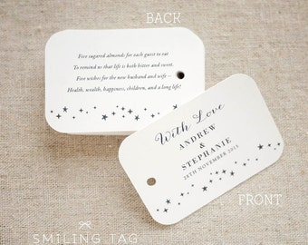 Sugared Almonds Personalized Gift Tags - Jordan Almond Favor Tags - Wedding Favor Tag - Wedding Bomboniere - Set of 20 (Item code: J474)
