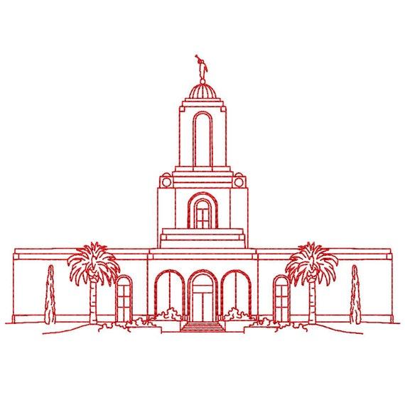 Newport Beach California Lds Temple Redwork Embroidery