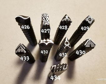 52, pyramid stamp, wave stamps, border stamps,metal stamps, leather stamp, metal punch, original design, ink stamp, pottery stamp