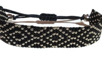 Loom beaded bracelet / Beaded bracelet with waxed cord