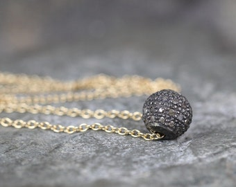 Disco Ball Diamond Pendant - Rough Cut Genuine Diamonds -  Yellow Gold Filled and Sterling Silver - Pave Diamond Bead Necklace