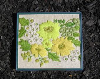 vintage crewel embroidery big bloom yellow flowers
