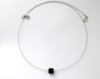 Black necklace, glass Swarovski necklace, black bib necklace, swarovski jewelry, Minimal Statement Necklace