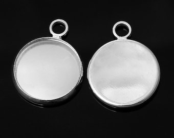 10 pcs. Silver Tone Circle Round Bezel Cabochon Pendant Tags Trays - 12mm Glue Pad - 17x14mm - Single Loop