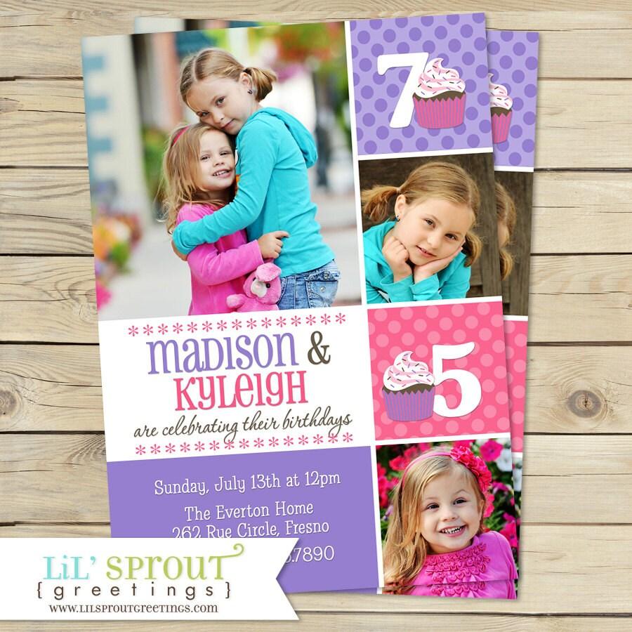 Twin Girl Photo Birthday Invitation Purple Pink Cupcake