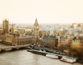 "Big Ben, London Skyline, London Print, Westminster, Cityscape Print, View from London Eye, Travel Photography Print ""Little Britain"""