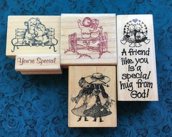 Vintage Rubber Stamps-Friendship Themed Rubber Stamps-Girl-Boy Hugging-Girlfriends Hug-Fuzzy Hugs-Stampendous-Sonlight-Delafield Stamp Co