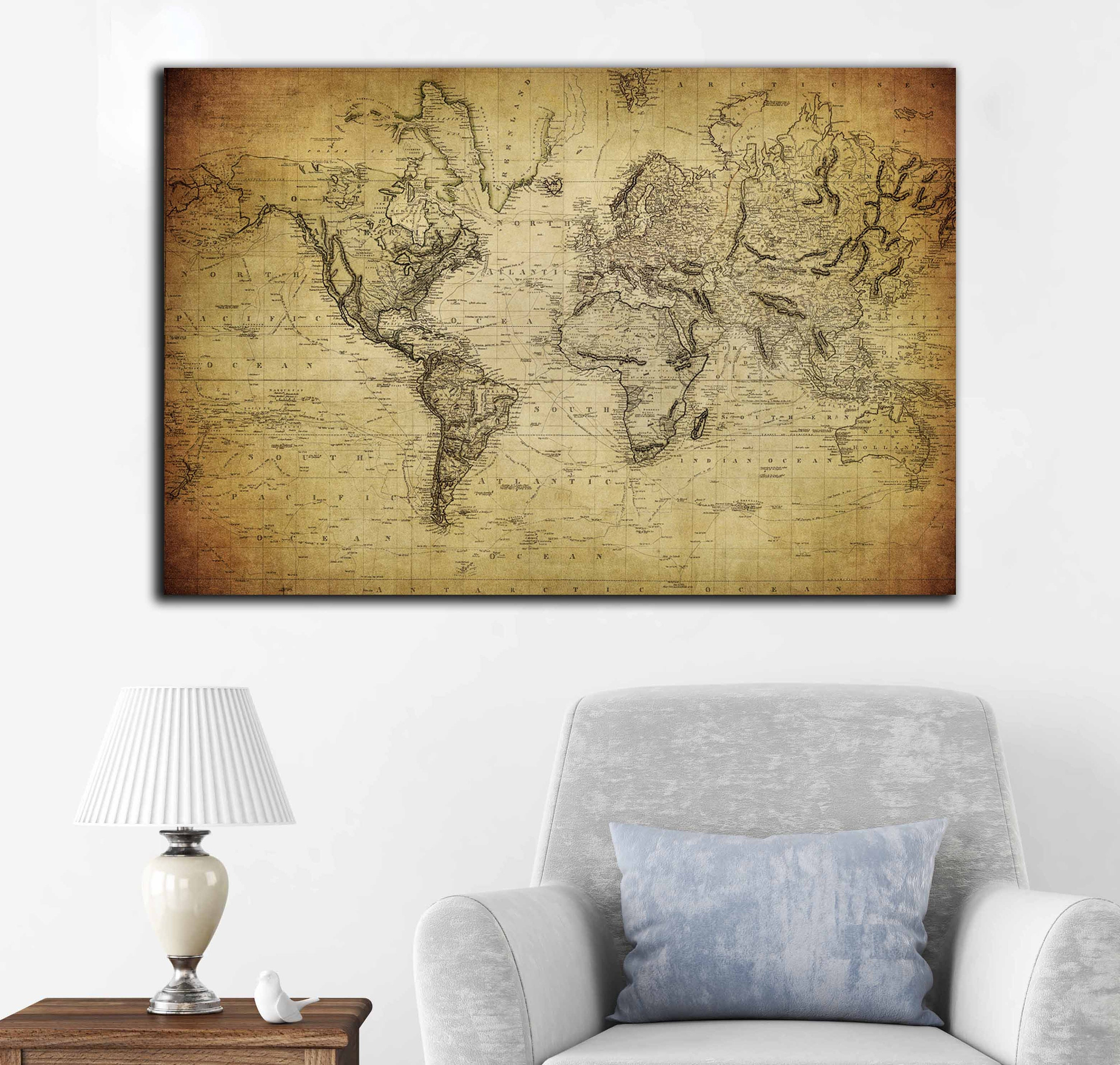 rustic world map wanderer art. rustic wood world map rustic decor ...