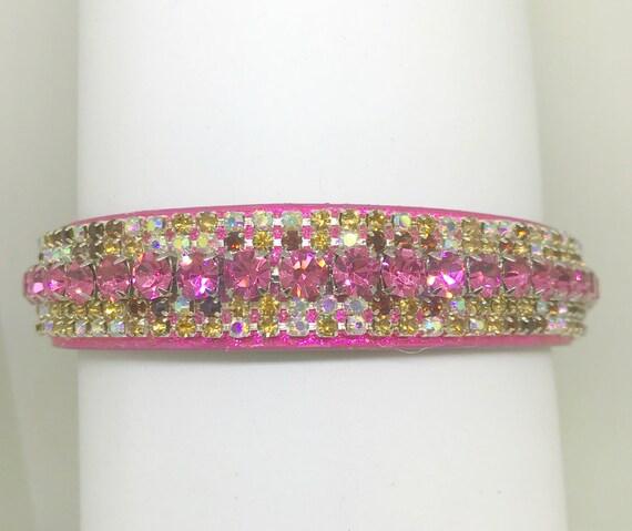 Sugarlicious Pets  ® ~Cherry Cordial~ Pink & Brown Aurora~ Diamante Bling Rhinestone Dog Pet Glitter PU Leather Collar Wide LARGE Stones USA