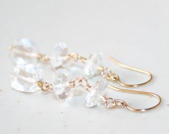 Elegant Clear Rock Crystal Drop Earrings, 14K Gold Filled, Faceted Clear Rock Crystal, April Birthstone, Bridal Earrings, Gemstone Dangle