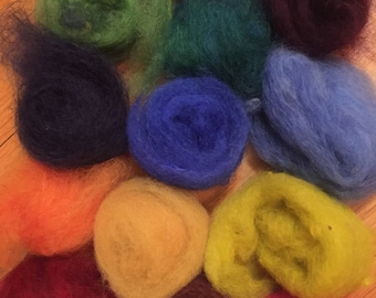 dyed wool roving samples
