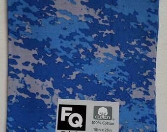 """Fabric Quarters Cotton Fabric 18""""- Blue Camo"""