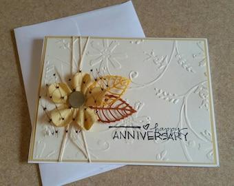 Handmade Anniversary Card. Congratulations. Embossed.