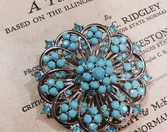 Vintage Faux Turquoise and Silver Toned Floral Brooch