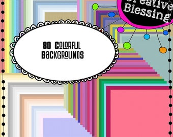 80 Colorful Backgrounds - Digital Papers