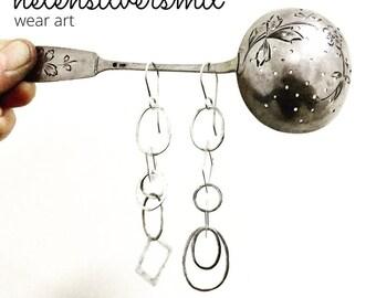 Chain Earrings, Chain Link Chain Mail Silver dangle earrings, chain mail jewelry, silver dangle and drop earrings Long Silver Chain earrings