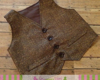 GROOMSMEN Brown Tweed Herringbone LOOK Cotton Country Wedding Vest ADULT Sizes